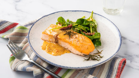 Keto Roasted Salmon with Spinach Recipe
