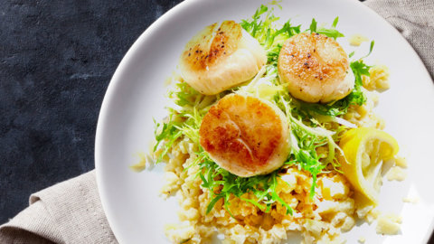 Keto Cauliflower Risotto Scallops Recipe